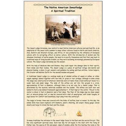 The Native American Sweatlodge, A Spiritual Tradition