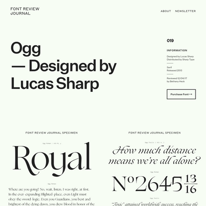 Ogg - Font Review Journal