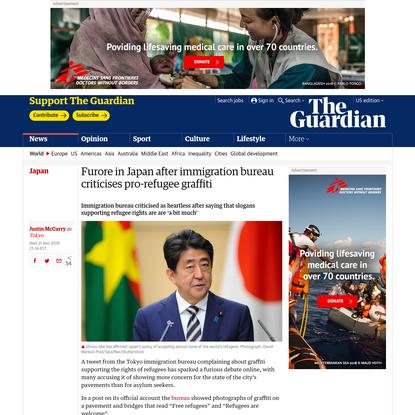 Furore in Japan after immigration bureau criticises pro-refugee graffiti