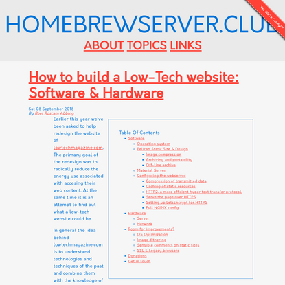 How to build a Low-Tech website: Software & Hardware