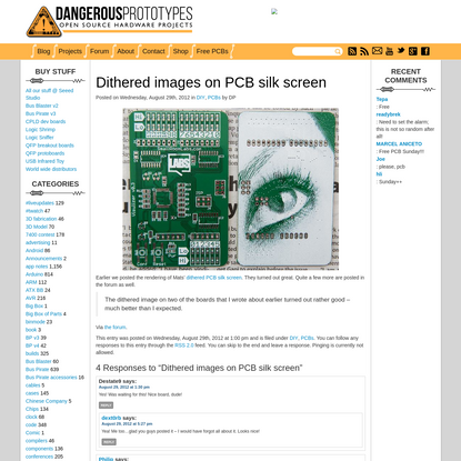 """Dithered images on PCB silk screen """" Dangerous Prototypes"""