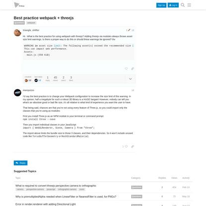 Best practice webpack + threejs - Questions - three.js Discourse