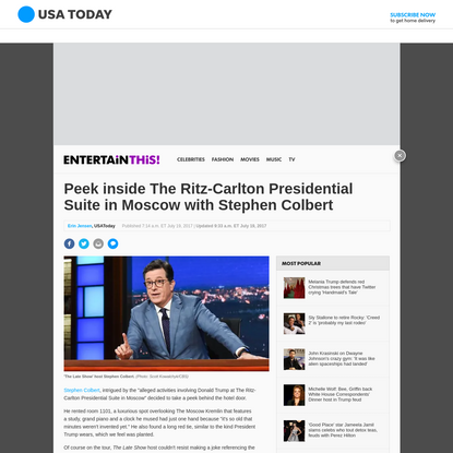 Peek inside The Ritz-Carlton Presidential Suite in Moscow with Stephen Colbert