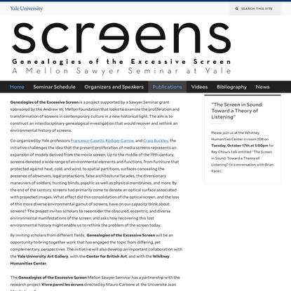 Genealogies of the Excessive Screen | Genealogies of the Excessive Screen