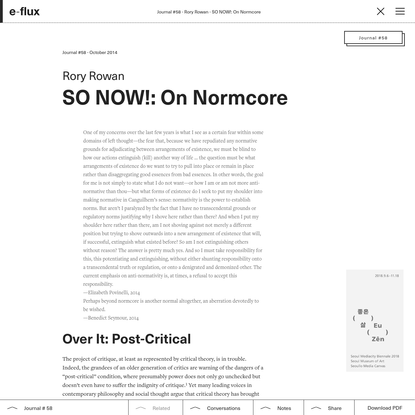 SO NOW!: On Normcore