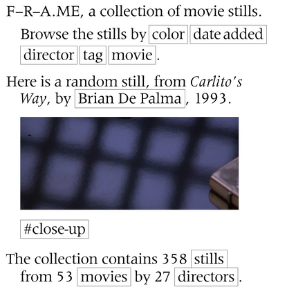 F-R-A.ME, a collection of movie stills.