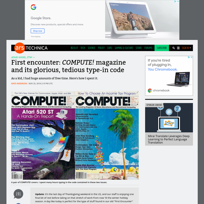 First encounter: COMPUTE! magazine and its glorious, tedious type-in code | Ars Technica