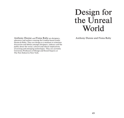 Design for the Unreal World