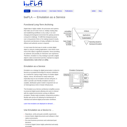 bwFLA: Emulation as a Service