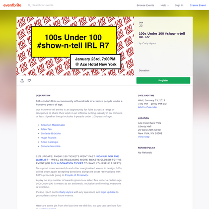 100s Under 100 #show-n-tell IRL R7
