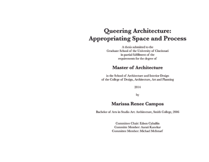 Queering Architecture: Appropriating Space and Process