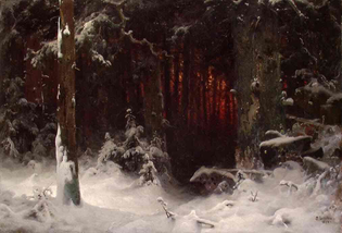 Sunset in a snowy forest, Ludwig Munthe (1841-1896)