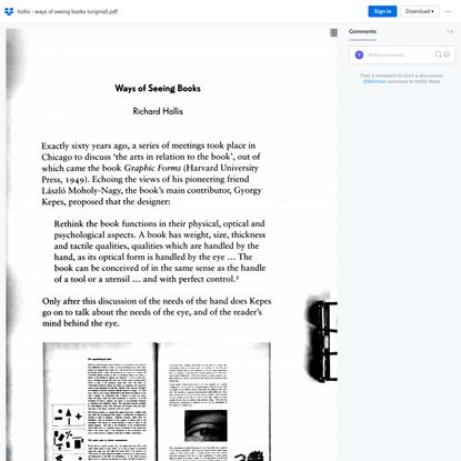 Richard Hollis — Ways of seeing books (Original)