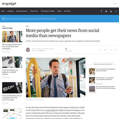 More people get their news from social media than newspapers