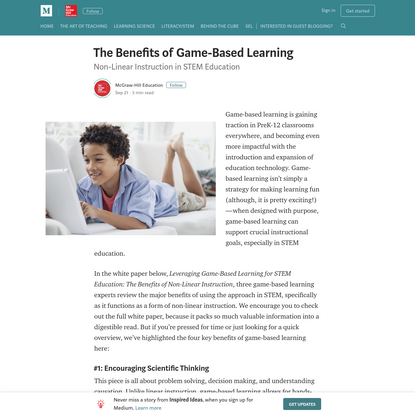 The Benefits of Game-Based Learning - Inspired Ideas - Medium