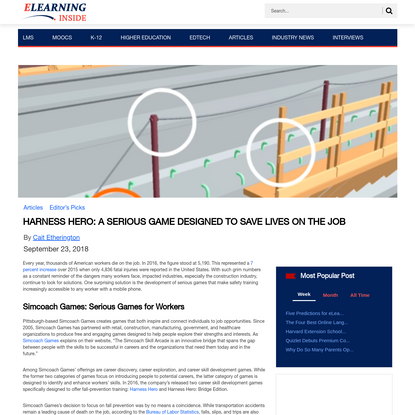 Harness Hero: A Serious Game Designed to Save Lives on the Job | eLearningInside News