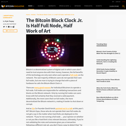 The Bitcoin Block Clock Jr. Is Half Full Node, Half Work of Art