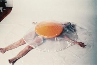 Raw Egg costume, 1974, Carole Itter
