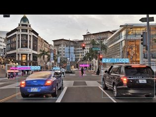 Driving Downtown Object Detection - Rodeo Drive - Los Angeles USA
