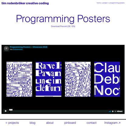 Programming Posters * tim rodenbröker creative coding