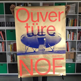 One of the posters we designed for @nof_fribourg screenprinted by @duo_d.art with golden gold and fluo orange. Thanks everyo...