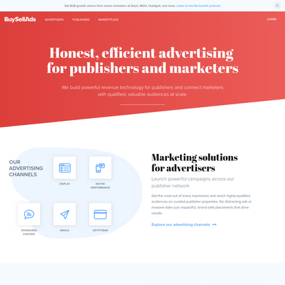 Advertising Solutions for Publishers and Marketers   BuySellAds