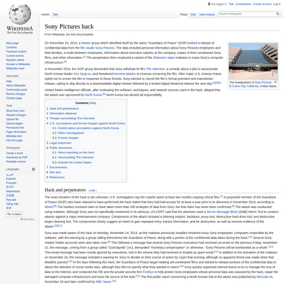 Sony Pictures hack - Wikipedia