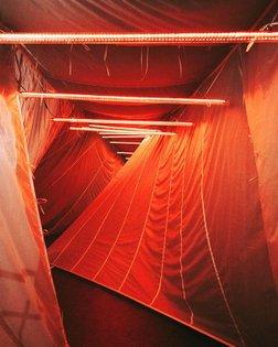 bending red corridor