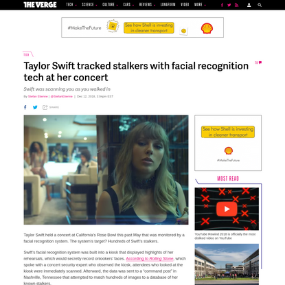Taylor Swift tracked stalkers with facial recognition tech at her concert