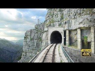4K CABVIEW Bar - Bijelo Polje -102 tunnels -96 bridges -1029m altitude change from Sea to Mountains