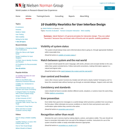10 Heuristics for User Interface Design: Article by Jakob Nielsen