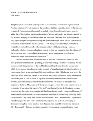 Black Topological Existence | Fred Moten