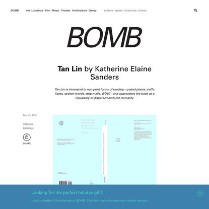 Tan Lin by Katherine Elaine Sanders - BOMB Magazine