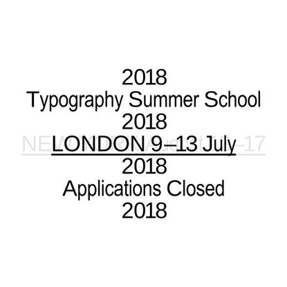 Typography Summer School 2018
