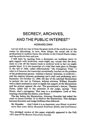 """Howard Zinn, """"Secrecy, Archives, and the Public Interest"""""""