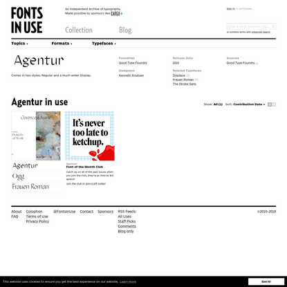 Agentur in use - Fonts In Use