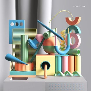 Groovelock #installation #set #abstract #design #box #geometry #geometrical #c4d #cinema4d #render #colors #minimal #pattern...