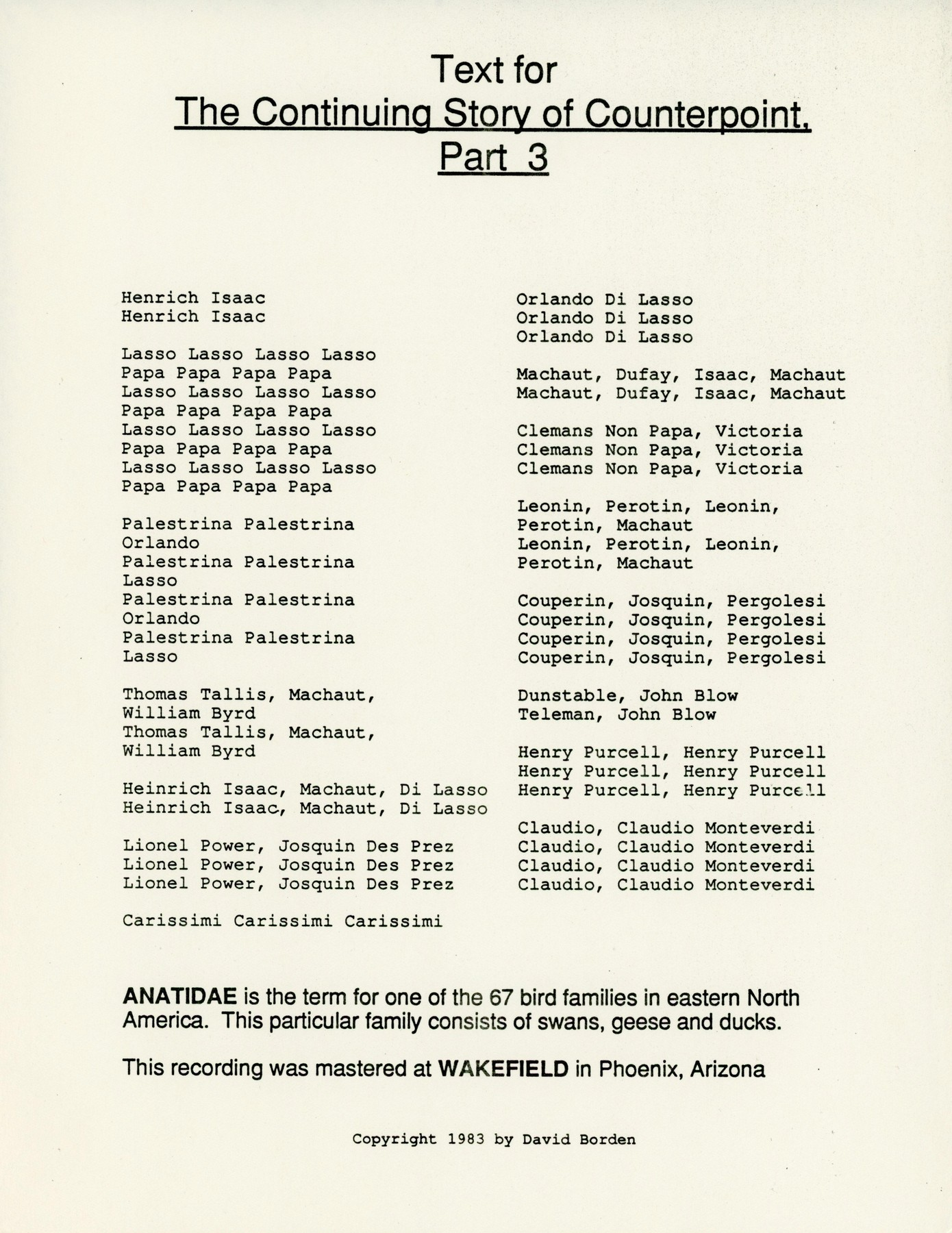 David Borden and the New Mother Mallard Band - Anatidae LP Insert