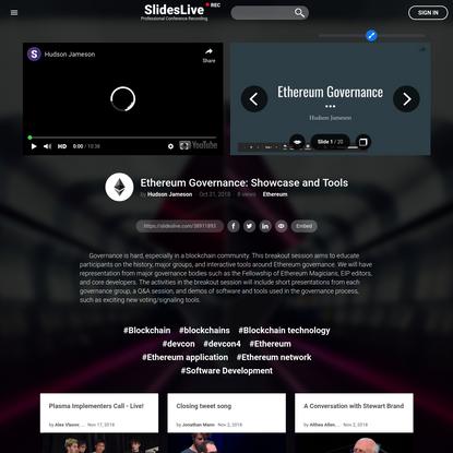 Hudson Jameson | Ethereum Governance: Showcase and Tools
