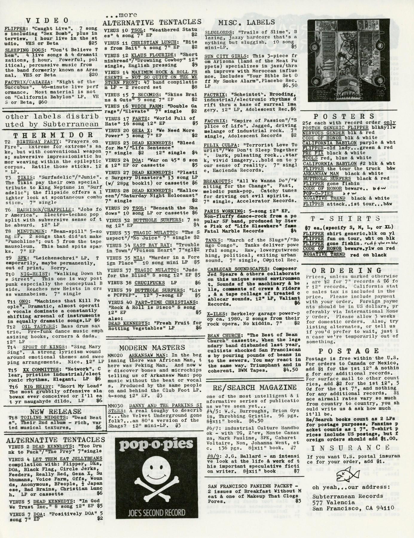 Subterranean Records Catalog 1985 - 2