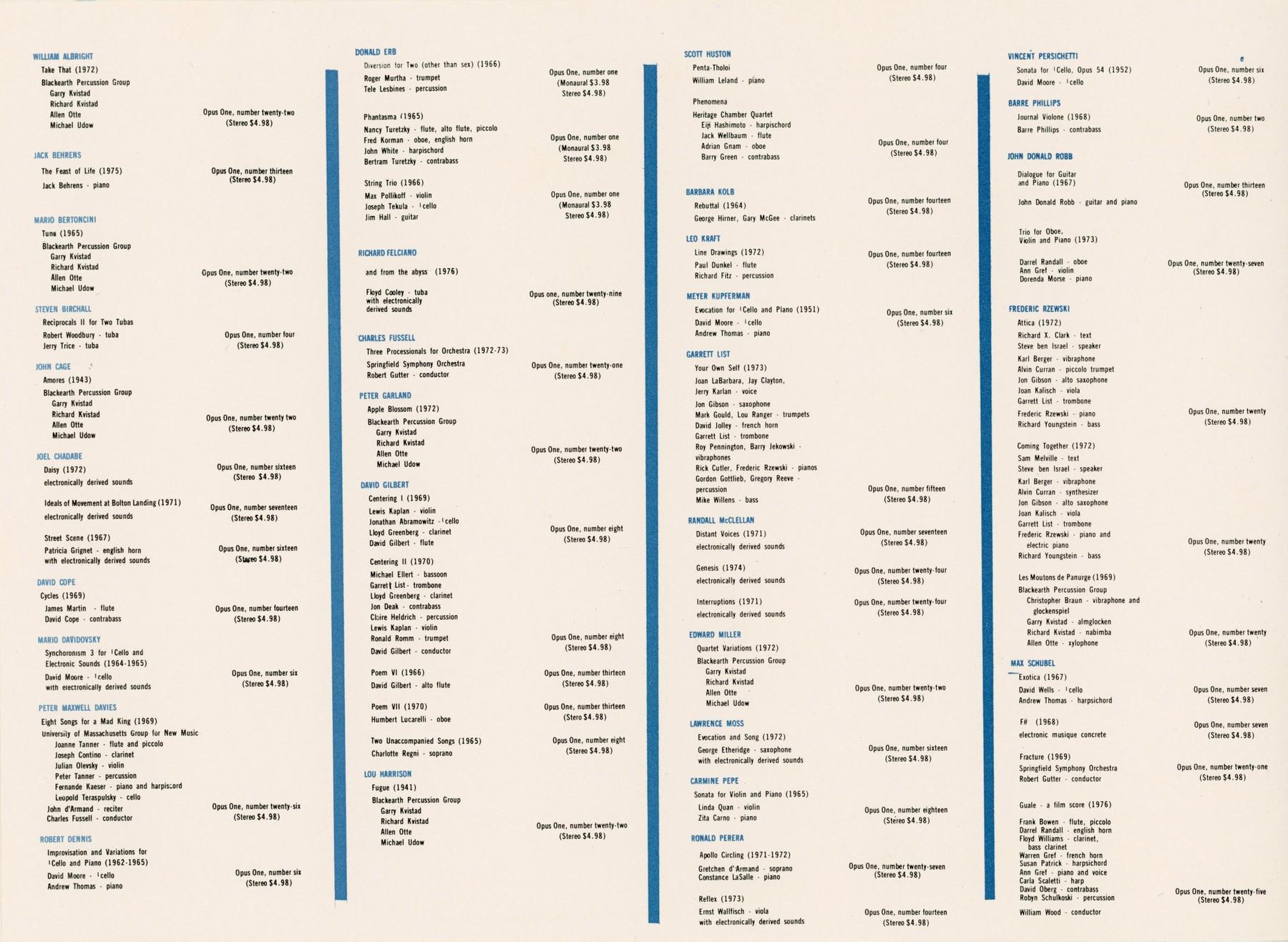 Opus One Catalog Back