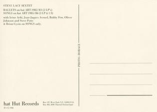 Steve Lacy Sextet Postcard Back