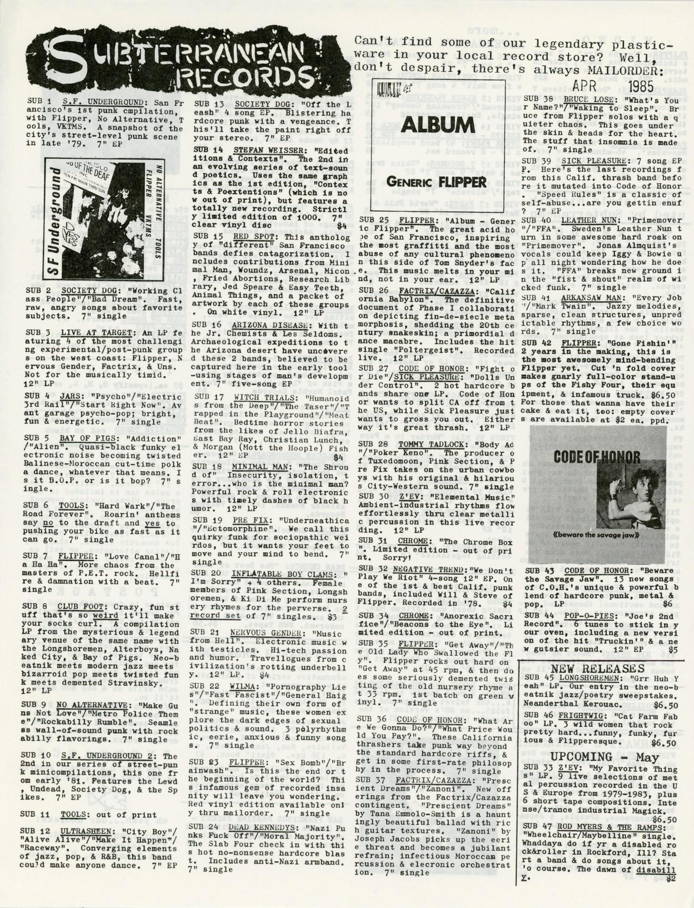 Subterranean Records Catalog 1985 - 1