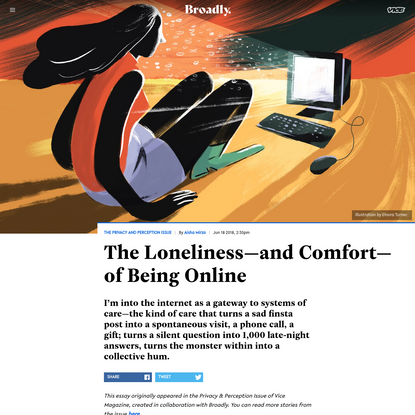 The Loneliness—and Comfort—of Being Online - Broadly