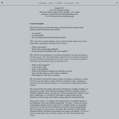 Syllabus: Yale Interactive Design