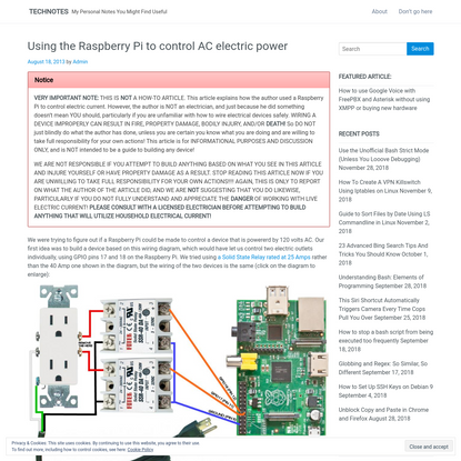 Using the Raspberry Pi to control AC electric power