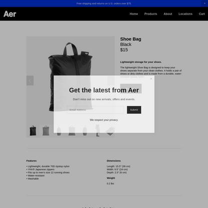 Shoe Bag - Black - Aer | Modern gym bags, travel backpacks and laptop backpacks designed for city travel