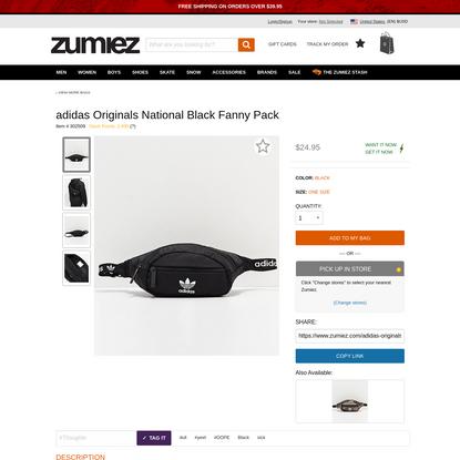 adidas Originals National Black Fanny Pack | Zumiez