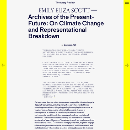 The Avery Review   Archives of the Present-Future: On Climate Change and Representational Breakdown