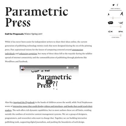 The Parametric Press | Issue 01 Call For Proposals